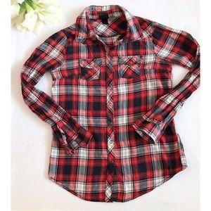 H&M Plaid Button Down Shirt Size 2